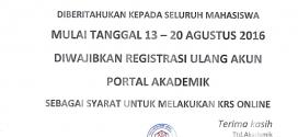 Info Registrasi Ulang Akun Portal Akademik untuk Semua Mahasiswa STIEBBANK
