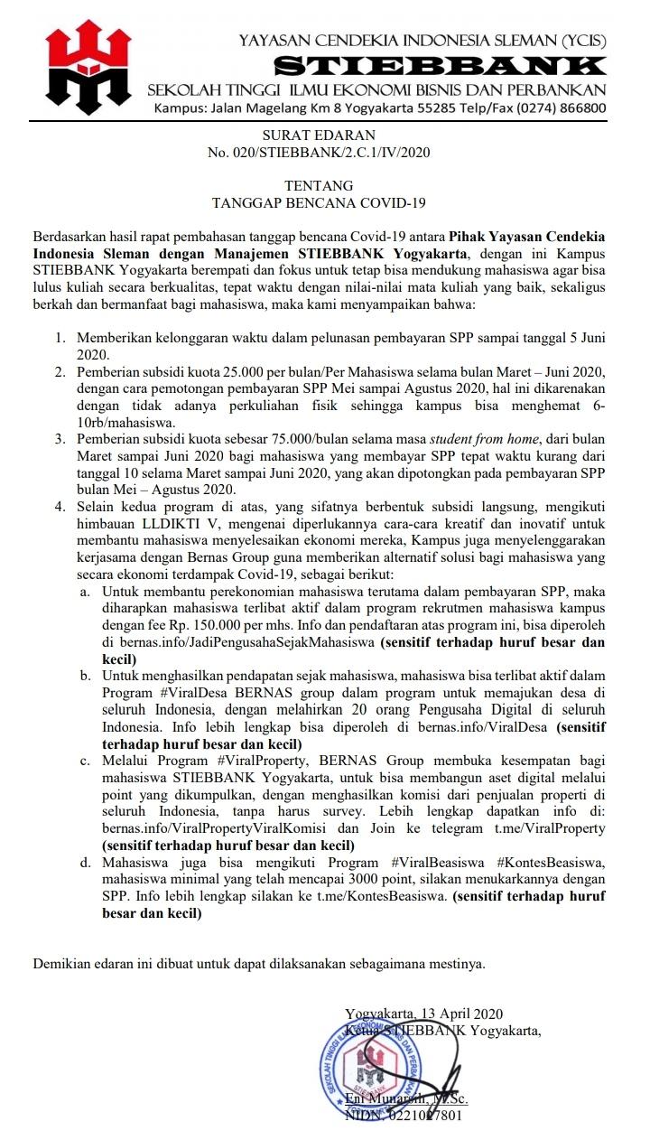 Surat Edaran bencana Covid-19